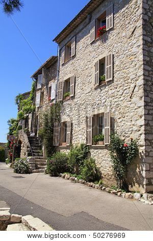 Rural Sandstone Houses In Saint-paul De Vence, Provence, France