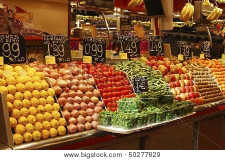 Display Of Fruit On Market Stall. Barcelona