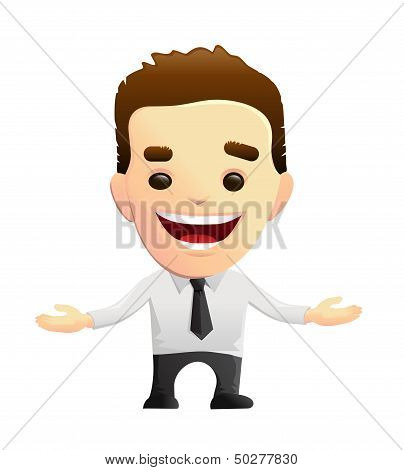 Smiling Businessman Character With Open Arms