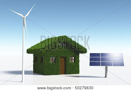 Grassy House With Clean Energy
