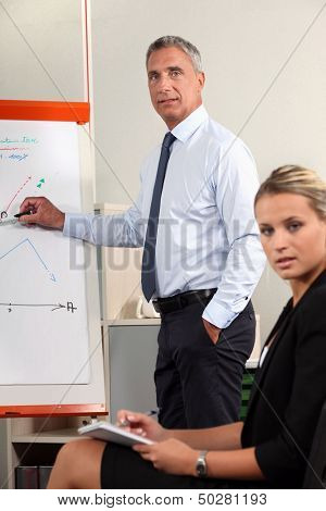 A businessman giving a presentation