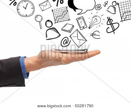 business, technology, internet and news concept - man hand with smartphone