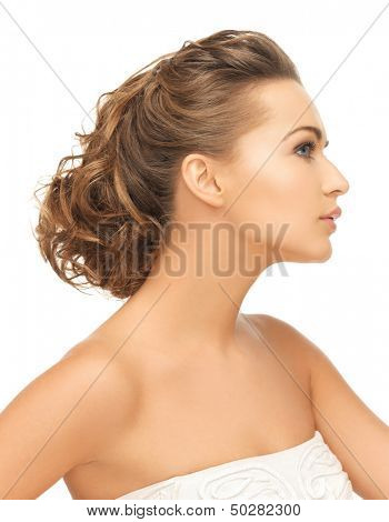 health and beauty concept - face of beautiful bride with evening updo (can be used as a template for jewelry)