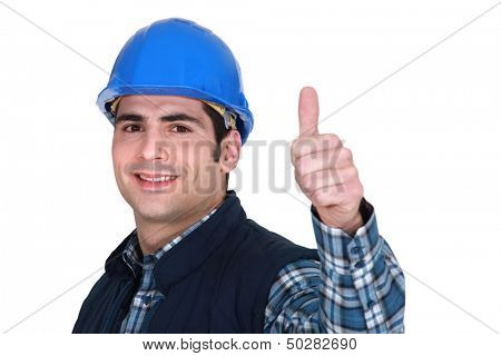 Worker giving the thumbs up