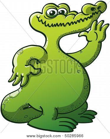 Cool alligator waving hello