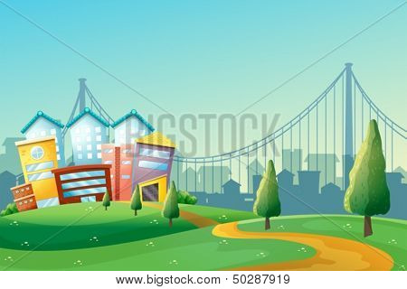 Illustration of a pathway going to the colorful buildings in the city