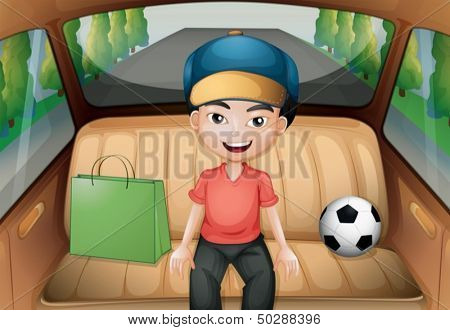 Illustration of a boy sitting inside a running car