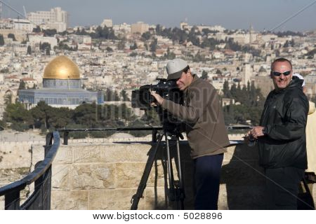 Cameramen In Israel With Rail