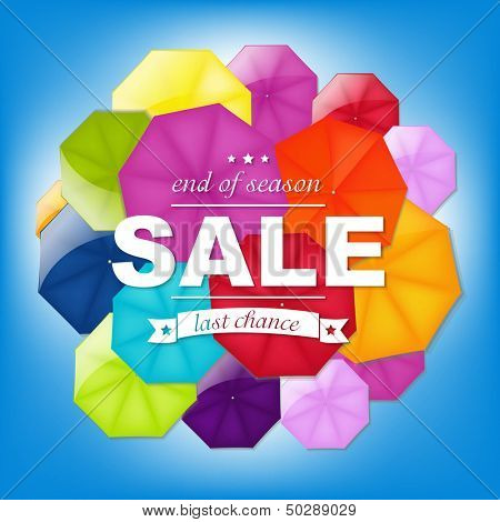 Sale Poster With Color Umbrellas, With Gradient Mesh, Vector Illustration
