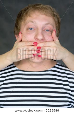 Hands Have Covered A Man's Mouth