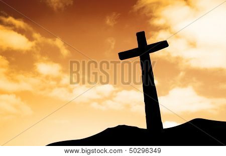 One cross on a hill