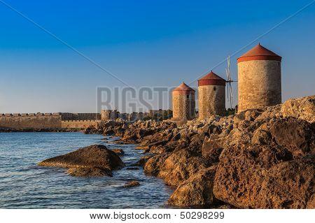 Windmills At Rhodes Greece
