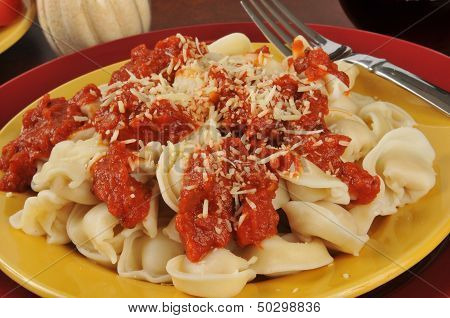 Tortellini With Marinara Sauce Closeup