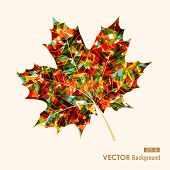 stock photo of fall decorations  - Fall season colorful transparent leaf geometric elements - JPG