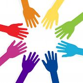 stock photo of snatch  - vector colorful hands forming shape teamwork presentation - JPG