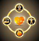 picture of atherosclerosis  - Health care symbol wheel - JPG