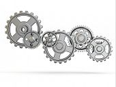 Perpetuum mobile. Iron gears on white isolated background. 3d