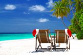 image of sunny beach  - Christmas card or background  - JPG