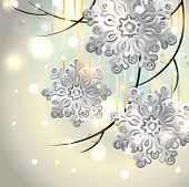 Christmas Card With Silver Snowflakes