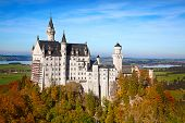 picture of bavarian alps  - Neuschwanstein castle in Bavarian alps - JPG