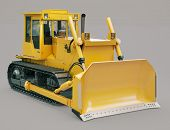 Heavy crawler bulldozer on a gray background