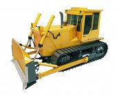 pic of earthwork operations  - Heavy crawler bulldozer isolated on a white background - JPG