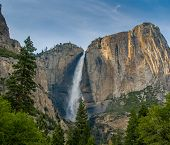 stock photo of waterfalls  - Panoramic view of Yosemite waterfall California USA - JPG