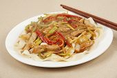 stock photo of lo mein  - A delicious dinner of Pork Lo Mein