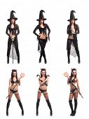 image of trident  - Set of different Halloween images isolated on white - JPG