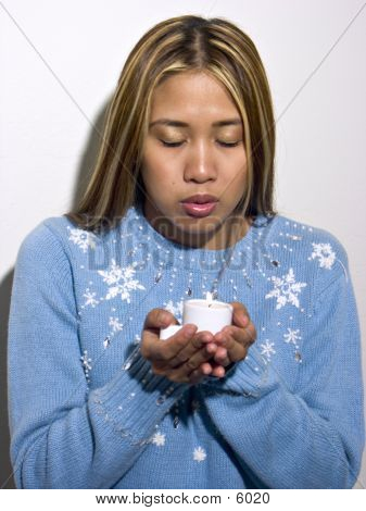 Rachelle Blue Sweater & Candle 2