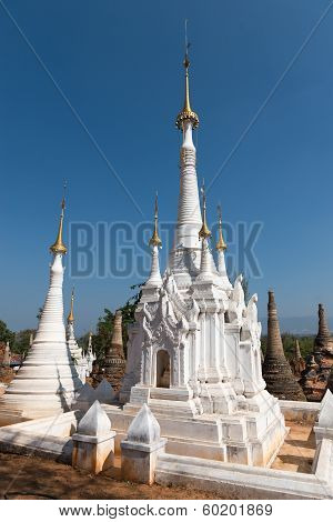 White Ancient Burmese Buddhist Pagodas