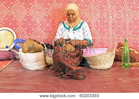 MOROCCO, AURIKA VALLEY - OCTOBER 24: Woman at work in a cooperative for manufacturing argan oil on 24th october in Morocco