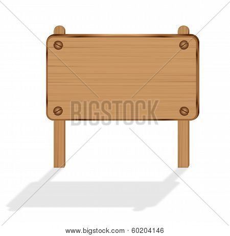 Wooden Hoarding Sign Board Isolated On White