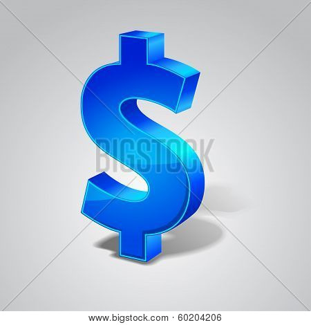 3d Glossy Dollar Vector sign Icon