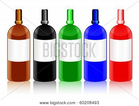 Glass Bottles With Blank Labels In Different Colors