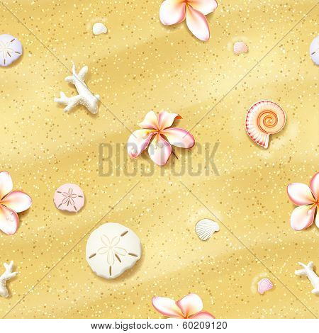 Seamless Sand Background with Flowers