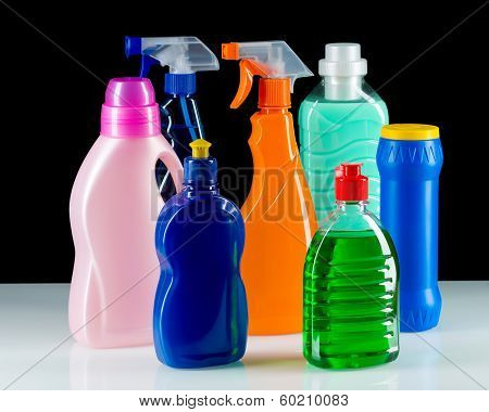 Cleaning product plastic container for house clean on black background