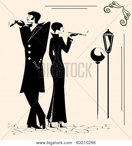 smoking man and woman