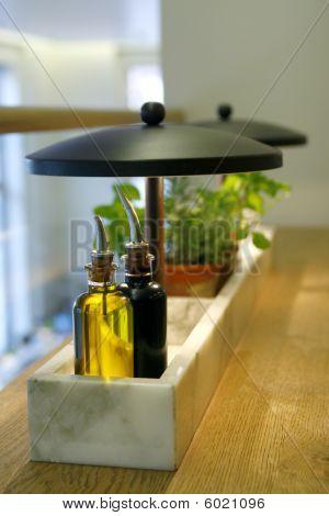 Olive Oil, Balsamic Vinegar And Fresh Herbs