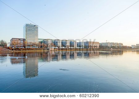 New Buildings At The Westhafen At River Main In Sunset
