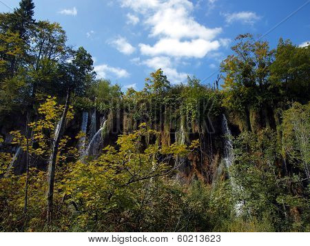 Waterfall In Forest. Plitvice Lakes, Croatia.