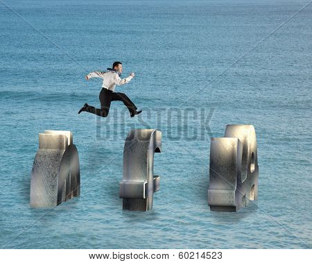 Businessman Jumping On Money Symbol