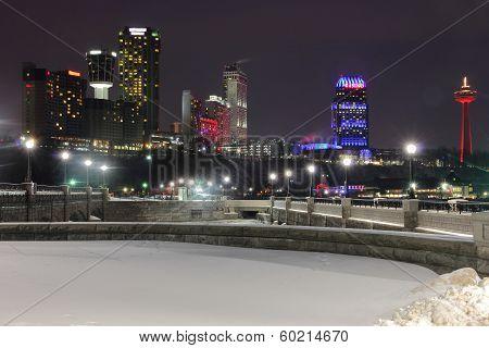 Niagara Winter Skyline with Bridges