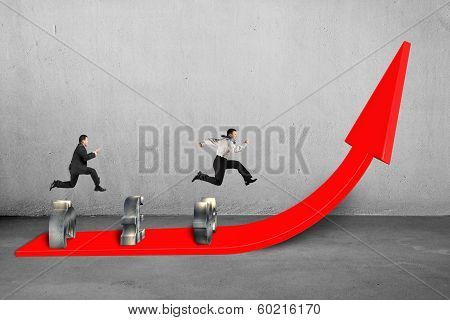 Businessmen Competing On Growing Red Arrow