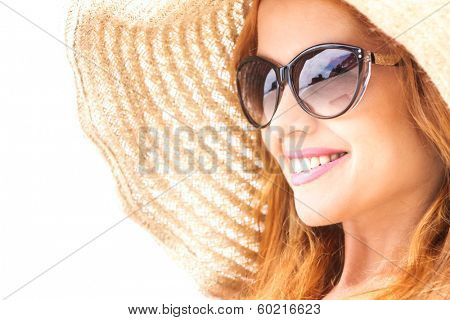 woman in straw hat, isolated over white, summer vacation concept