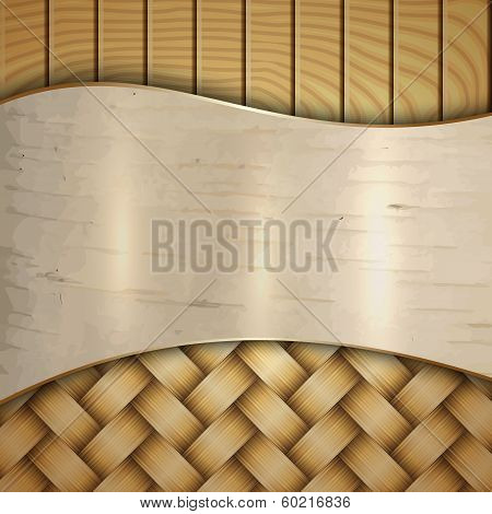Vector abstract wooden texture with wickerwork, birch and curves