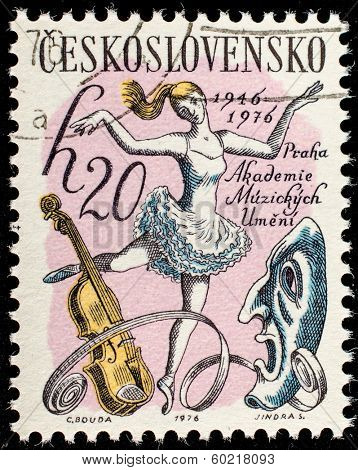CZECH REPUBLIC - CIRCA 1976: A post stamp printed in Czech Republic and honored Prague Academy of Performing Arts. Circa 1976.