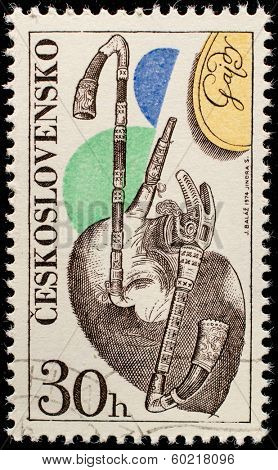 CZECHOSLOVAKIA - CIRCA 1974: A stamp printed in Czechoslovakia, shows Musical instrument Gajdy, with the same inscription, from the series