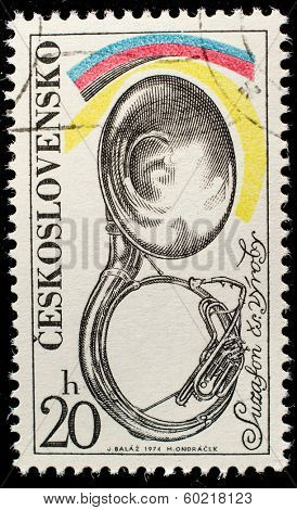 CZECHOSLOVAKIA - CIRCA 1974: A stamp printed in Czechoslovakia, shows Musical instrument trombone, circa 1974
