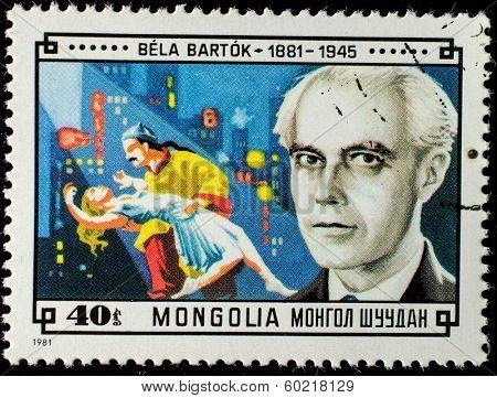 MONGOLIA - CIRCA 1981: A stamp printed in Mongolia shows ballet dancers by Bela Bartok, circa 1981.